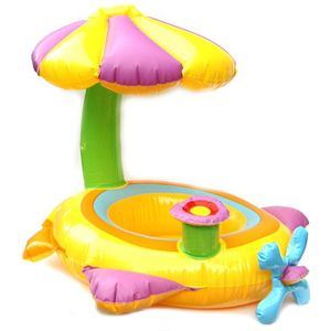 Vevendo Schwimmring mit Schirm und Fallschutz - Ø 64 cm, aufblasbarer Schwimmsitz, Schwimmhilfe für Kinder bis zu 11 kg