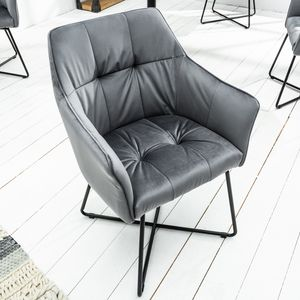 Exklusiver Design Stuhl LOFT Samt silbergrau mit Armlehne Esszimmerstuhl Samtstoff Armlehnenstuhl