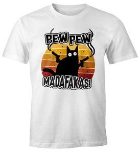 Herren T-Shirt Pew Pew Madafakas Katze Western Cat Meme Fun-Shirt Spruch lustig Moonworks® weiß XL