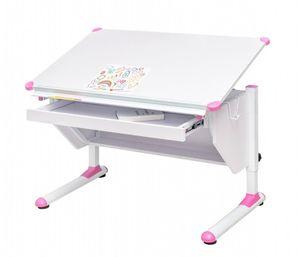 Kinderschreibtisch VARIANT mit Schublade weiß verstellbar Grau + Pink