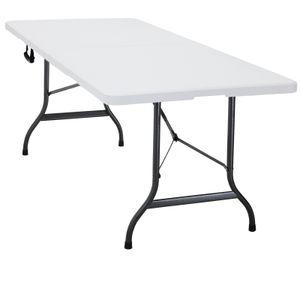 Klapptisch 182x76x74 cm (LxBxH) weiß - klappbar mit Kofferfunktion - Campingtisch Gartentisch  Markttisch Flohmarkttisch Koffertisch