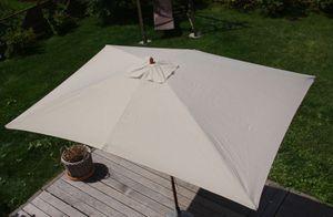 Sonnenschirm Lissabon, Gartenschirm Marktschirm, 2x3m Polyester/Holz 6kg  creme
