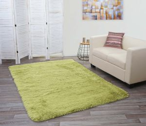 Teppich HWC-F69, Shaggy Läufer Hochflor Langflor, Stoff/Textil flauschig weich 230x160cm  grün