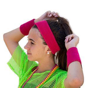 Oblique Unique Stirnband + Schweißband Set Pink 3-teilig 80er Jahre 80s Karneval Fasching Motto Party pink