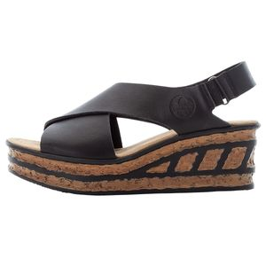 Rieker Damen Sandalen Keilabsatz Sandaletten 68189-00, Größe:39 EU, Farbe:Schwarz