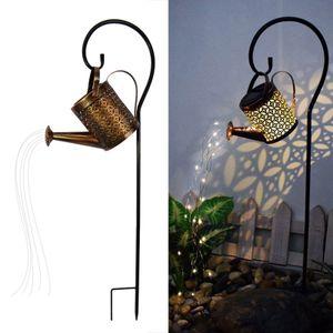 Solar Wasserfall Licht, LED Lichterkette mit Gießkanne und Ständer, Stern Dusche Kunst Lichterketten für Garten Hof Terrasse Rasenlampe