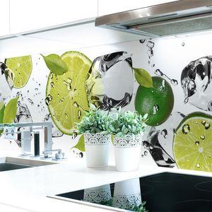 Küchenrückwand Limetten Eiswasser Premium Hart-PVC 0,4 mm selbstklebend - Direkt auf die Fliesen, Größe:400 x 60 cm