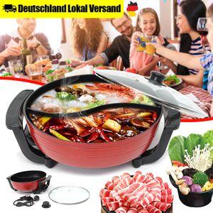 6L Induktion Feuertopf Suppentopf Twin Hot Pot Shabu Kochgeschirr 220V 1300