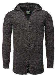 Key Largo Herren Strickjacke Buddy jacket Cardigan mit Kapuze grob gestrickt meliert MST00009 , Grösse:L, Farbe:anthra
