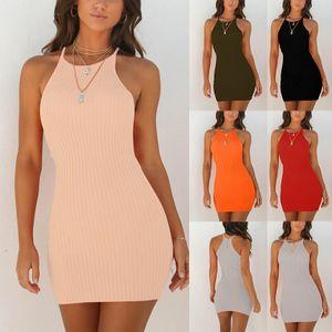 Einfarbiges Ärmelloses Enges Rock-Rundhalskleid Für Damen,Farbe: Aprikose,Größe:M