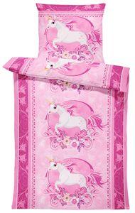 4 teilig Kinderbettwäsche 135x200 cm Einhorn Unicorn Magic Pferd rosa Mikrofaser