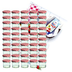 50er Set Sturzglas 125 ml Marmeladenglas Einmachglas To 66 rot karierter Deckel incl. Rezeptheft