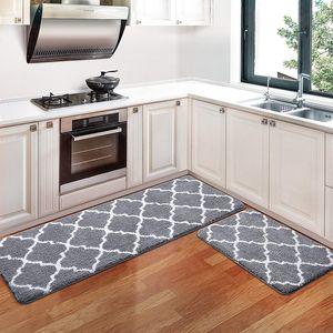2 Stück / Set Küchenteppiche Und -Matten, Rutschfeste Küchenläufer Waschbar Teppichläufer Küchenteppich ,40 Cm X 120 Cm + 40 Cm X 60 Cm, Grau
