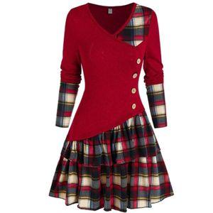 Frauen Kleid Langarm Asymmetric Plaid Patchwork Rüschen Streetwear für den Frühling