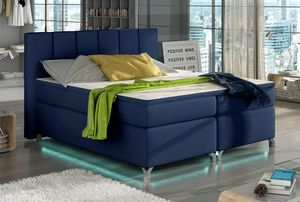 Boxspringbett Polsterbett Bett Bettkasten LED 140x200 Kunstleder blau