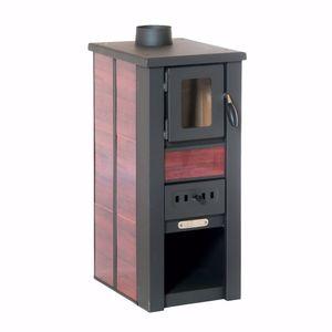 acerto® - LAVA Kaminofen Ceramic rot mit Sichtfenster 35x44x82 cm - Kompakter Premium Holzofen für kleine Räume mit 8 kW Heizleistung
