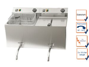 Profi Doppel Fritteuse mit Ablasshahn, Edelstahl, 2 x 10 Liter, 50-190°C