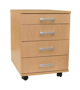 AI SEN Rollcontainer Ravenna-Buche Melamin  415 x 500 x 570 mm, 1 kleine Schublade, 3 Schubladen 4 Rollen, 2 mit Rollenbremse; B1007B