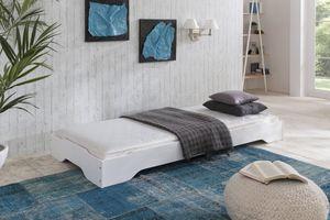 Stapelbett Gästebett 90x200 cm Kiefer massiv weiss Sylt