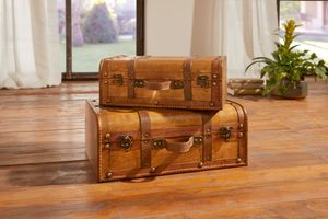 Deko-Koffer Kolonial im 2er Set für nostalgisches Globetrotter-Flair aufwändig gearbeitetes Holz in warmem Braunton, Maße 35 x 23 x 14 cm, 42 x 30 x 17 cm