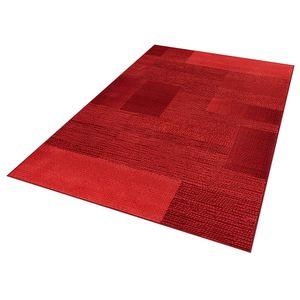 Teppich Boss Design Kurzflorteppich Teppich Marble kariert meliert Karo, Farbe:Rot, Größe:120x170 cm