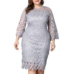 Damen Plus Size Sommerkleid 3/4 Ärmel Party Abendkleider Bodycon Kleid, XL