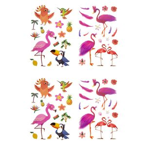 Oblique Unique Temporäre Klebetattoos Kinder Vogel Tattoo Set - Flamingo Motive