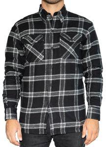 BRUBAKER Motorrad Hemd Jacke - Schutzhemd mit Aramid Futter und Protektorentaschen - Holzfäller Optik - Karo Schwarz Weiß - XL