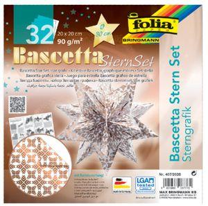 folia Faltblätter Bascetta-Stern 200 x 200 mm 90 g/qm 32 Blatt weiß kupfer bedruckt