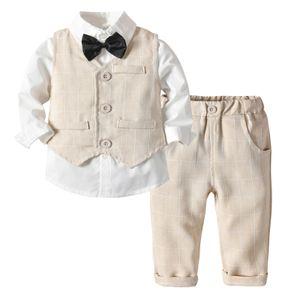 Fashion Gentleman Outfits Anzš¹ge Fliege Hemden + Hosen + Weste Mantel 3pcs Hš¹bscher Anzug Baby Boys Kleidung Sets