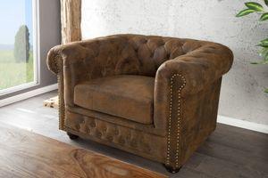 Chesterfield Sessel Antikbraun aus dem Hause Casa Padrino - Lounge Sessel Antik Braun