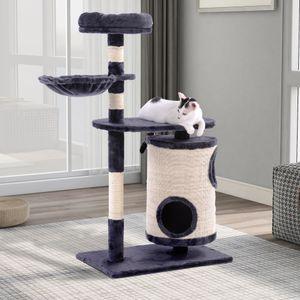PURLOVE Katzenbaum 112cm Hoch mit Zylindrisches Katzenhaus, Katzenbaum mit Kratztonne, Aktivitätszentrum für Katzen, Dunkelgrau