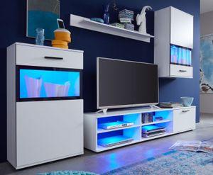 Wohnwand Medienwand Swing weiß mit Absetzungen Siebdruck Lack schwarz Beleuchtung - inkl. LED - Beleuchtung  231 cm