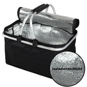 Einkaufskorb faltbar klein Thermokorb - THERMO Korb Kühlkorb Isolierkorb Picknickkorb Aufbewahrungskorb für Auto Damen Schwarz