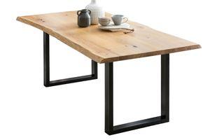 SalesFever Esstisch Baumkante   140 x 80 cm   Tischplatte Eichenholz massiv   Gestell Metall schwarz   B 140 x T 80 x H 75 cm   natur