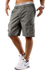 Herren Bermuda Cargo Shorts kurze Capri Sommer Hose Freizeit Basic, Farben:Grau, Größe Shorts:M