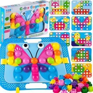 MalPlay Mosaik Steckspiel für Kinder | Steckmosaik mit 48 Steckperlen und 8 bunten Steckplätte | Baustein Set | Geschenk