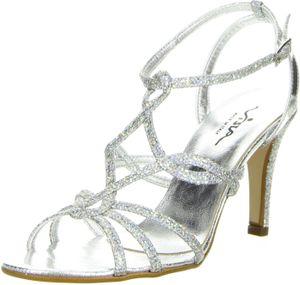 Vista Damen Sandaletten Glitzeroptik silber, Größe:41, Farbe:Silber