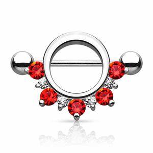 Brustwarzenpiercing Schild Nippelpiercing mit Zirkonia Kristallen, Farbe:Red
