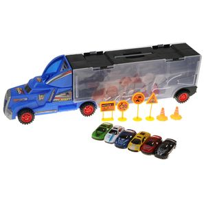 Diecast Legierung Container LKW mit 12 Auto Modell Kid Vehicle Spielset Spielzeug c Containerwagen-Set C wie beschrieben wie beschrieben&+&wie beschrieben