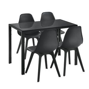 [en.casa] Essgruppe für 4 Personen Schwarz Esstisch + 4 Stühle Küchentisch Esszimmertisch mit Esszimmerstuhl