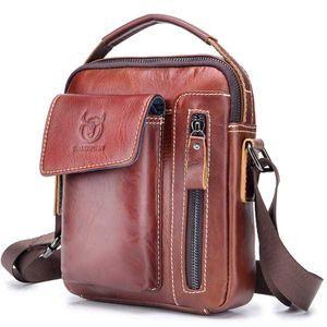 Bullcaptain Echtes Leder Umhängetasche Geschäft Taschen Echtleder Vintage Herren Umhängetaschen - Rotbraun
