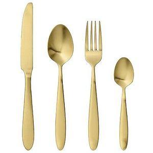 Besteck in matt Gold, 4-teilig/ Servierbesteck / goldenes / goldfarbenes besteck / Set / vergoldet / Messer / Gabe