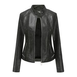 Winterwarme Frauen Kurzmantel Lederjacke Parka Reißverschluss Tops Mantel Outwear Größe:M,Farbe:Schwarz