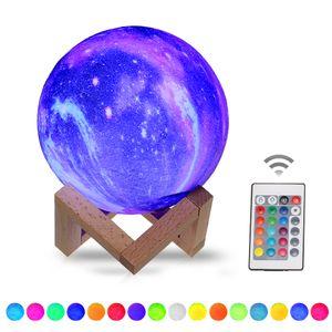 15 cm 3D Druck Sterne Mond Lampe USB Led Mond Geformte Tisch Nachtlicht mit Basis 16 Farben ?ndern Touch und Fernbedienung Stern Licht Decor Geschenke