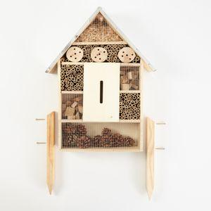 bambuswald© Insektenhotel mit Metalldach & Füßen   Insektenhaus Nützlingshotel - Unterschlupf für Bienen Wespen Schmetterlinge Insekten