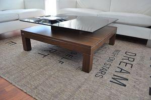 Design Couchtisch Tisch V-570H Nussbaum / Walnuss Milchglas Carl Svensson