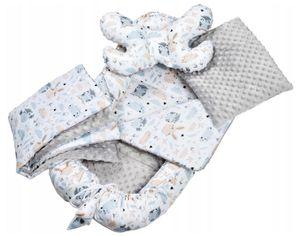 Baby Nestchen + Kissen und Decke 5 tlg Kokon Nest Babynest Reisebett Babydecke Grau/Tiere