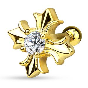 Autiga® Ohr Piercing Stecker Tragus Helix Cartilage Barbell keltisches Kreuz gold-transparent