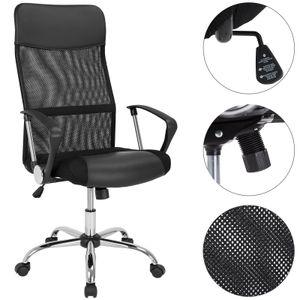 Casaria Bürostuhl Chefsessel »Deluxe« Wippfunktion höhenverstellbar ergonomisch 360° drehbar mit Netzbezug Stoff Drehstuhl Schreibtischstuhl , Farbe:schwarz